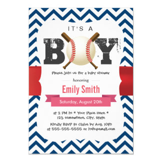 Baseball Theme Blue Chevron It's a Boy Baby Shower Card