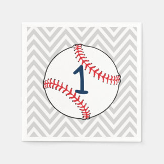 Baseball theme first Birthday Napkins