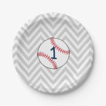 Baseball Theme First Birthday Paper Plates