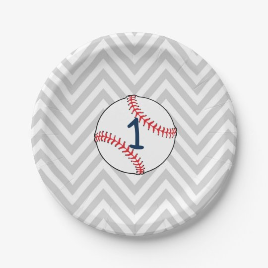 Baseball Theme First Birthday Paper Plates  sc 1 st  Zazzle : baseball paper plates - pezcame.com
