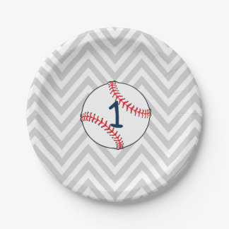 Baseball Theme First Birthday Paper Plates 7 Inch Paper Plate