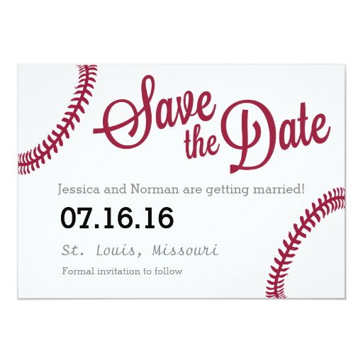 Baseball theme Save the Date Card | Zazzle