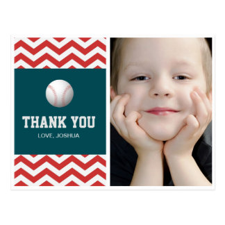 Baseball theme thank you postcard for boys