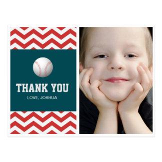 Baseball theme thank you postcard for boys