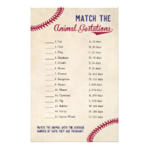 Baseball Themed Animal Gestation Match Shower Game Flyer