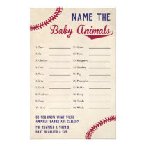 Baseball Themed Baby Shower Baby Animal Name Game Flyer