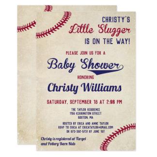 Baseball Themed Baby Shower Invitation Cards