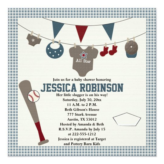 Baseball Themed Baby Shower Invitations Zazzle Com