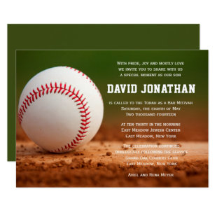 Baseball Themed Bar Mitzvah Invitation