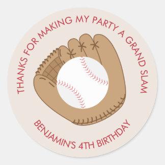 Baseball Themed Birthday Party Classic Round Sticker