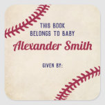 """Baseball Themed Bookplate Stickers for Baby Shower<br><div class=""""desc"""">Use our vintage baseball themed bookplate stickers to help you remember who gave each book to baby&#39;s first library. These red and blue baseball book labels coordinate perfectly with our baseball themed baby shower invitations and bring a book card inserts.</div>"""