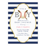 Baseball Themed Boy Navy Blue Stripes Baby Shower Card at Zazzle