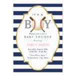 Baseball Themed Boy Navy Blue Stripes Baby Shower Card at Zazzle