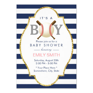 Baseball Themed Boy Navy Blue Stripes Baby Shower Card
