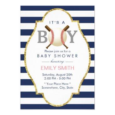 Toddler & Baby themed Baseball Themed Boy Navy Blue Stripes Baby Shower Card