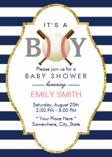 Baseball Themed Boy Navy Blue Stripes Baby Shower Invitation