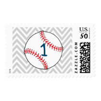 Baseball themed First Birthday Postage