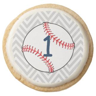 Baseball Themed First Birthday Shortbread Cookies Round Premium Shortbread Cookie