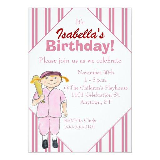Baseball-Themed Girl's Birthday Party Invitation