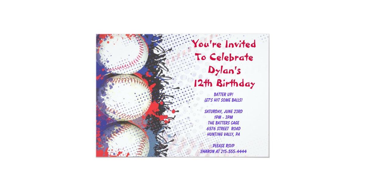 Baseball Themed Invitation Happy Birthday Party Zazzle Com