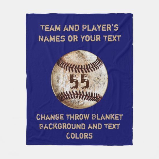 Baseball Throw Blanket with Your TEXT and COLORS