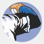 baseball throw pitcher  vector illustration round sticker