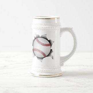 baseball thru metal sheet 18 oz beer stein