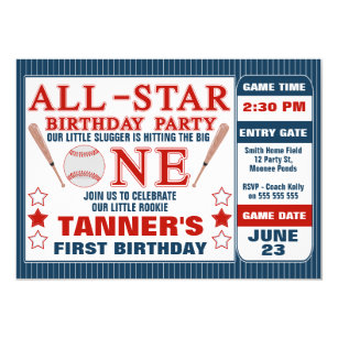 Baseball Ticket 1st Birthday Party Invitation