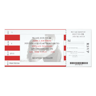 Baseball Ticket 4x9.25 Paper Invitation Card