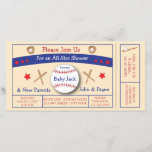 """Baseball Ticket Baby Shower Invitation<br><div class=""""desc"""">Give a baby shower that&#39;s a home run! Perfect for the couple&#39;s shower and for either gender. This invite, designed by Aesthetic Journeys, is made to be a baseball game ticket. Adorable baseball graphics included. Use the template to add your info or the &quot;customize it&quot; button to change the colors...</div>"""