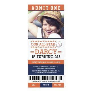 Baseball Ticket Birthday Invites