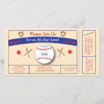 """Baseball Ticket Birthday Party Invitation<br><div class=""""desc"""">Give a birthday party that&#39;s a home run! This invite,  designed by Aesthetic Journeys,  is made to be a baseball game ticket.  Adorable baseball graphics included.  Use the template to add your info or the &quot;customize it&quot; button to change the colors and fonts.</div>"""