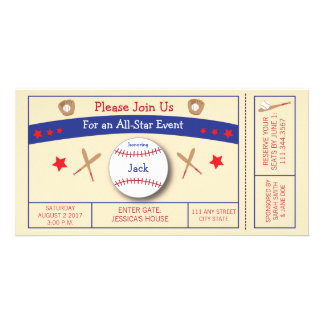 Baseball Ticket Birthday Party Invitation