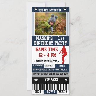 Baseball Ticket Birthday Photo Invitation