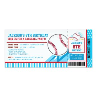 Baseball Ticket Pass Birthday Invitation