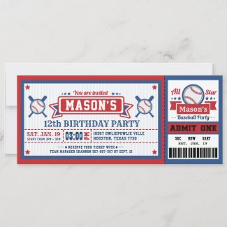 Baseball Ticket Pass Birthday Invitation Blue Red