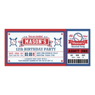 Baseball Ticket Pass Birthday Invitation Blue Red
