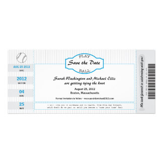 Baseball Ticket Save the Date Custom Invites