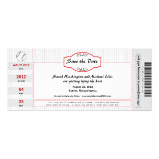 Baseball Ticket Save the Date Personalized Invite