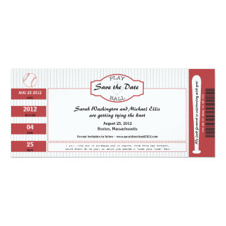 Baseball Ticket Save the Date 4x9.25 Paper Invitation Card