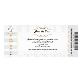 Baseball Ticket Save the Date Personalized Invitation