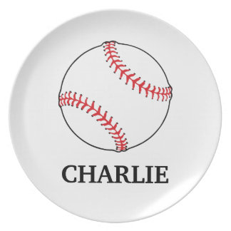 Baseball Toddler Plate with Customizable Name