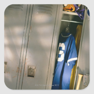 Baseball uniform and equipment in locker square sticker