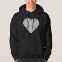 Baseball Valentines Day Heart Vintage Hoodie