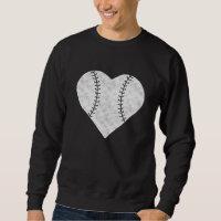Baseball Valentines Day Heart Vintage Sweatshirt