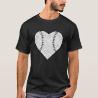 Baseball Valentines Day Heart Vintage T-Shirt
