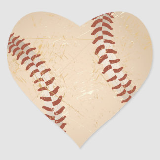 baseball vintage heart sticker