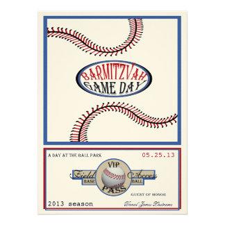 Baseball Vintage Retro 5.5 x 7.5 Bar Mitzvah Invitations