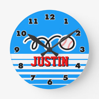Baseball wall clock with name for sporty boys