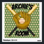"""Baseball Wall Decal<br><div class=""""desc"""">Batter up!  Baseballs and baseball mitts make up this fun wall decal. Customizable so you can add your own text and change the background color. Makes a great gift!</div>"""